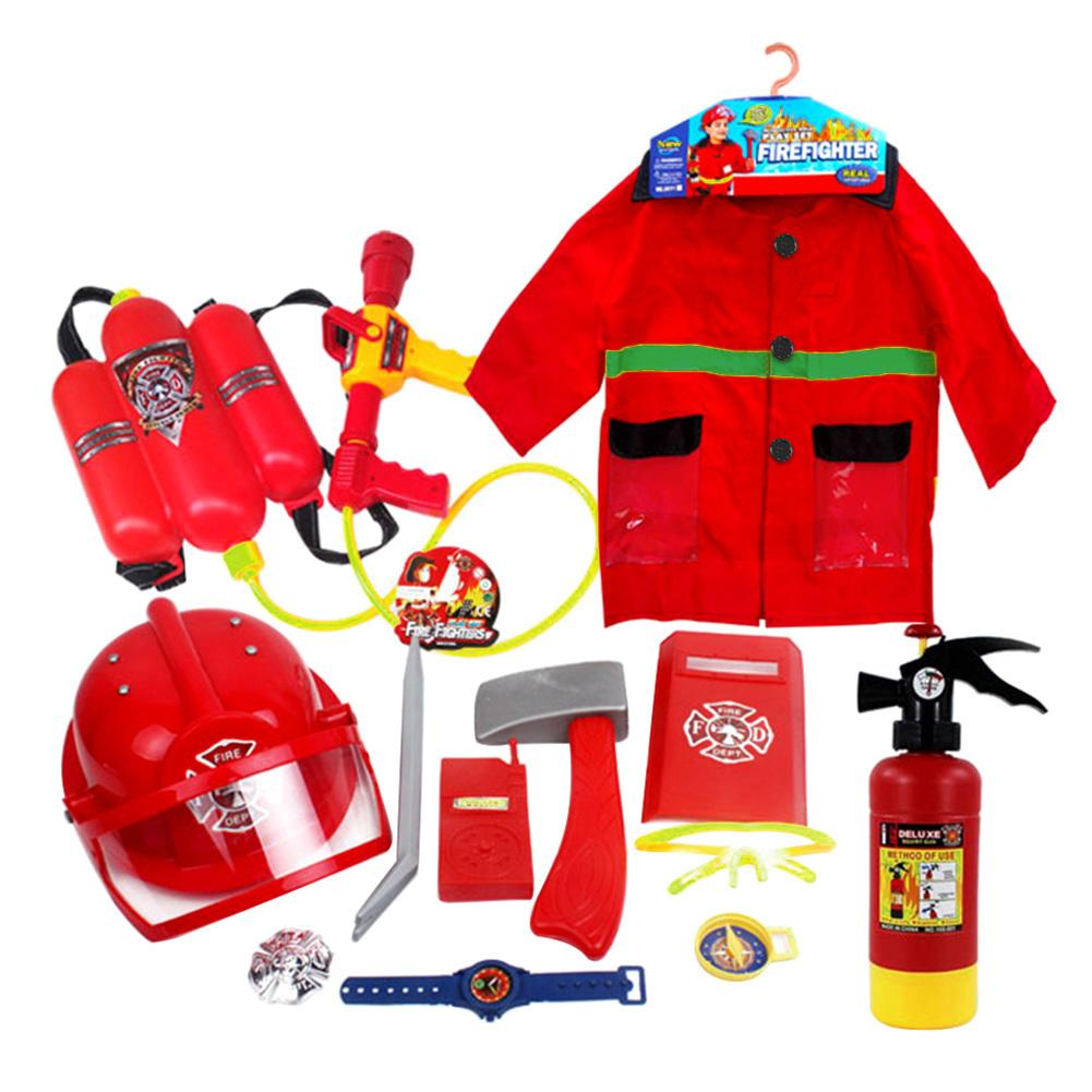 12pcs Fire Chief Role Play Costume Dress-Up Dress-Up Children's Toys Fire Hat Clothes Water Gun Fire Fighting Tools Firefighter
