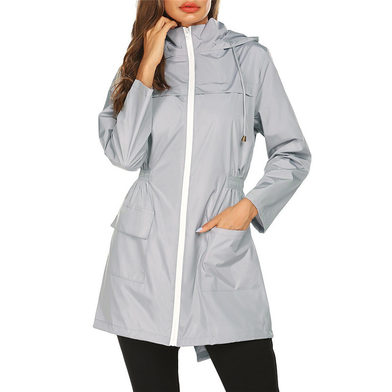 Mens Oxford Raincoats Hooded Jackets Women Waterproof Long Trench Outdoor Hiking