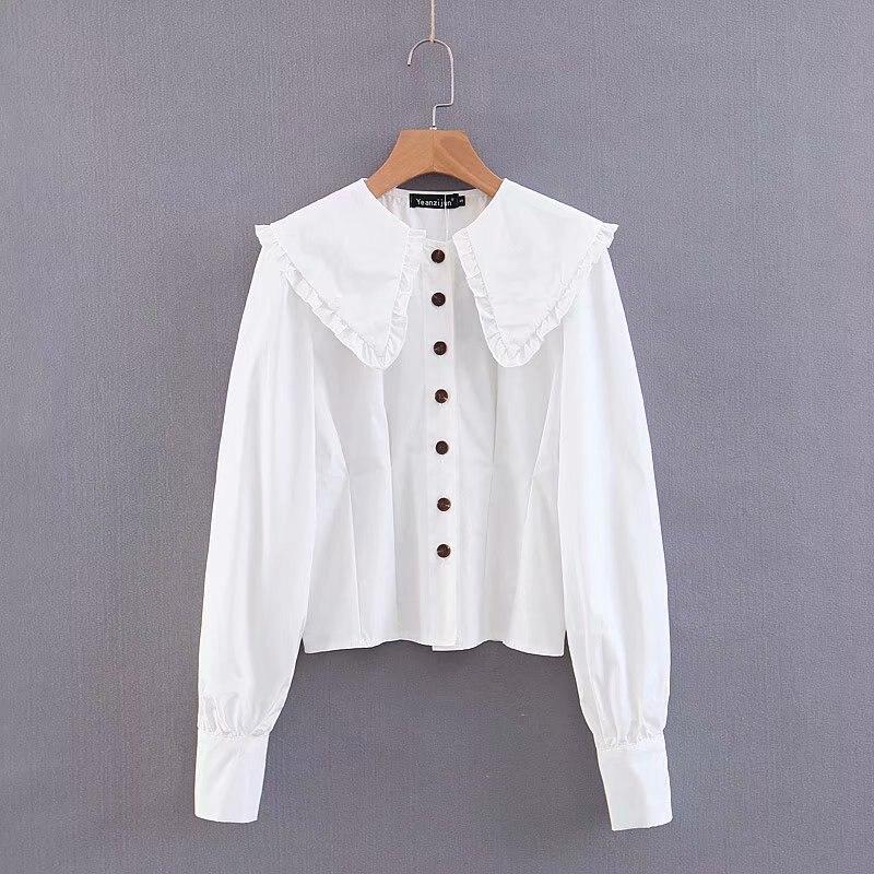 Women Vintage Solid Color Ruffles Big Turn Down Collar Casual Smock Blouse Shirts Women Retro Blusas Chic Femininas Tops LS4289