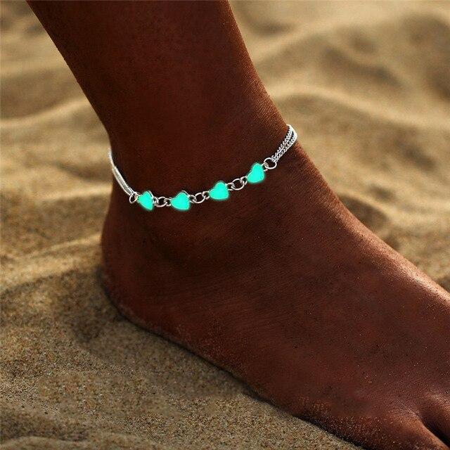 Tornozeleira da praia luminosa, tornozeleira do vintage, corrente dos pés, concha dura, joias da moda, pingentes no escuro, coração, tornozeleira