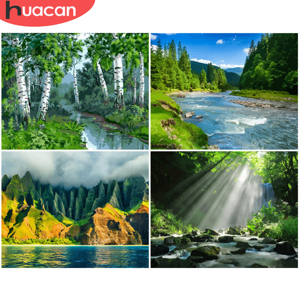 HUACAN Painting By Number Forest Landscape Kits Drawing Canvas HandPainted Gift DIY Oil Pictures Scenery Home Decor