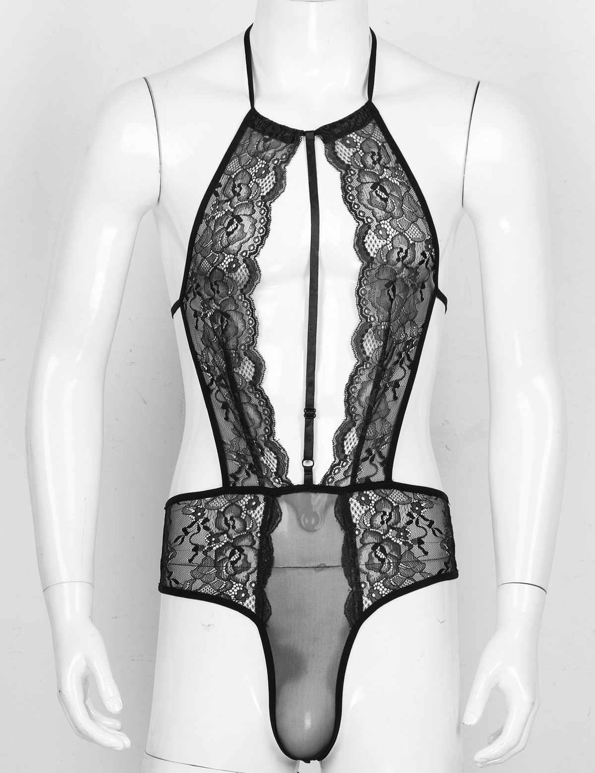 CHICTRY Mens Adult Fishnet Sissy Lingerie One-Piece Nightwear Skirted Leotard Bodysuit Pajamas