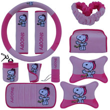 Snoopy Seat Belt Car Steering Wheel Handbrake Set Gear Supplies Interior Cute Cartoon
