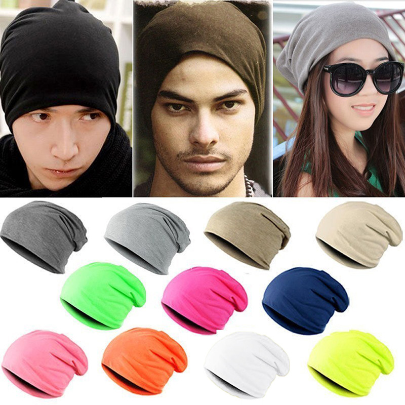 2019 Korean Candy Color Heap Men And Women Autumn And Winter Pullover Cap Knit Hat Hip-hop Hip Hop Linen Women Solid Fitted Hat