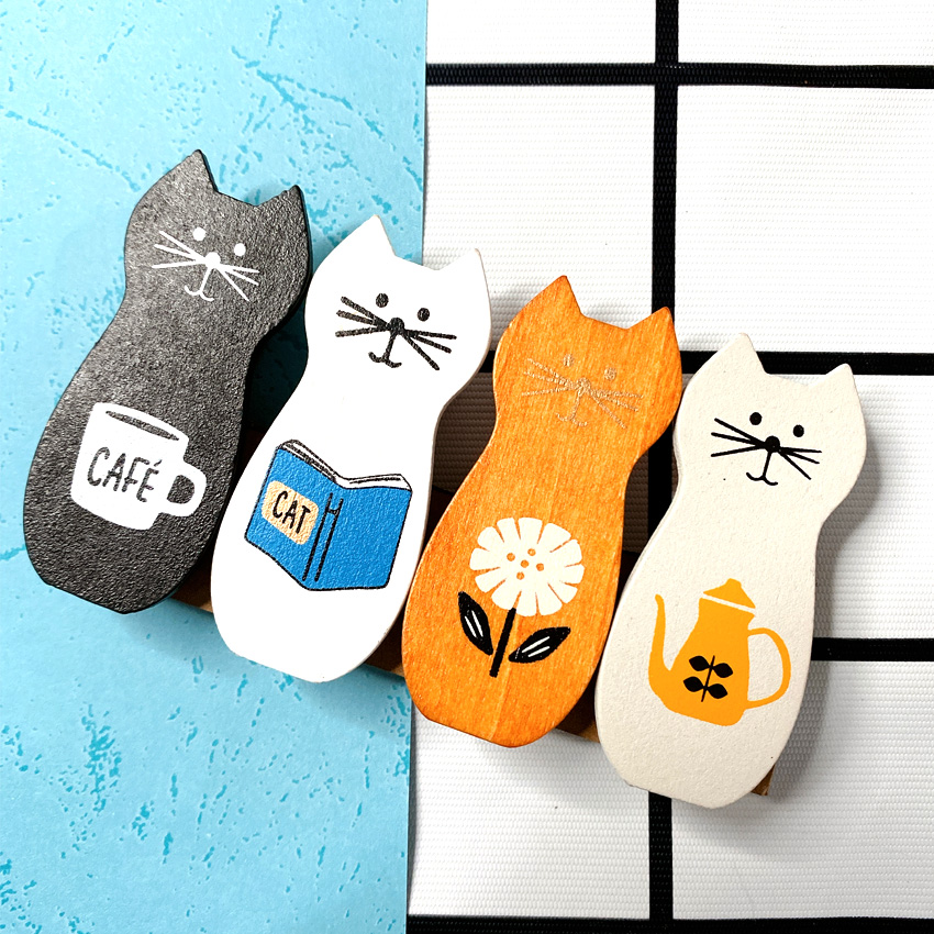 Set of Four Cute Wooden Kitty Clips