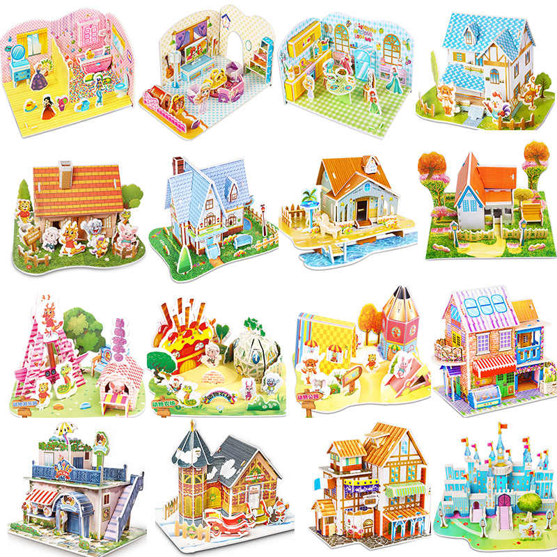 Simulation Cartoon Castle Garden Princess House 3D Puzzle Model Kit Architecture Maket Learning Educational Toys For Children