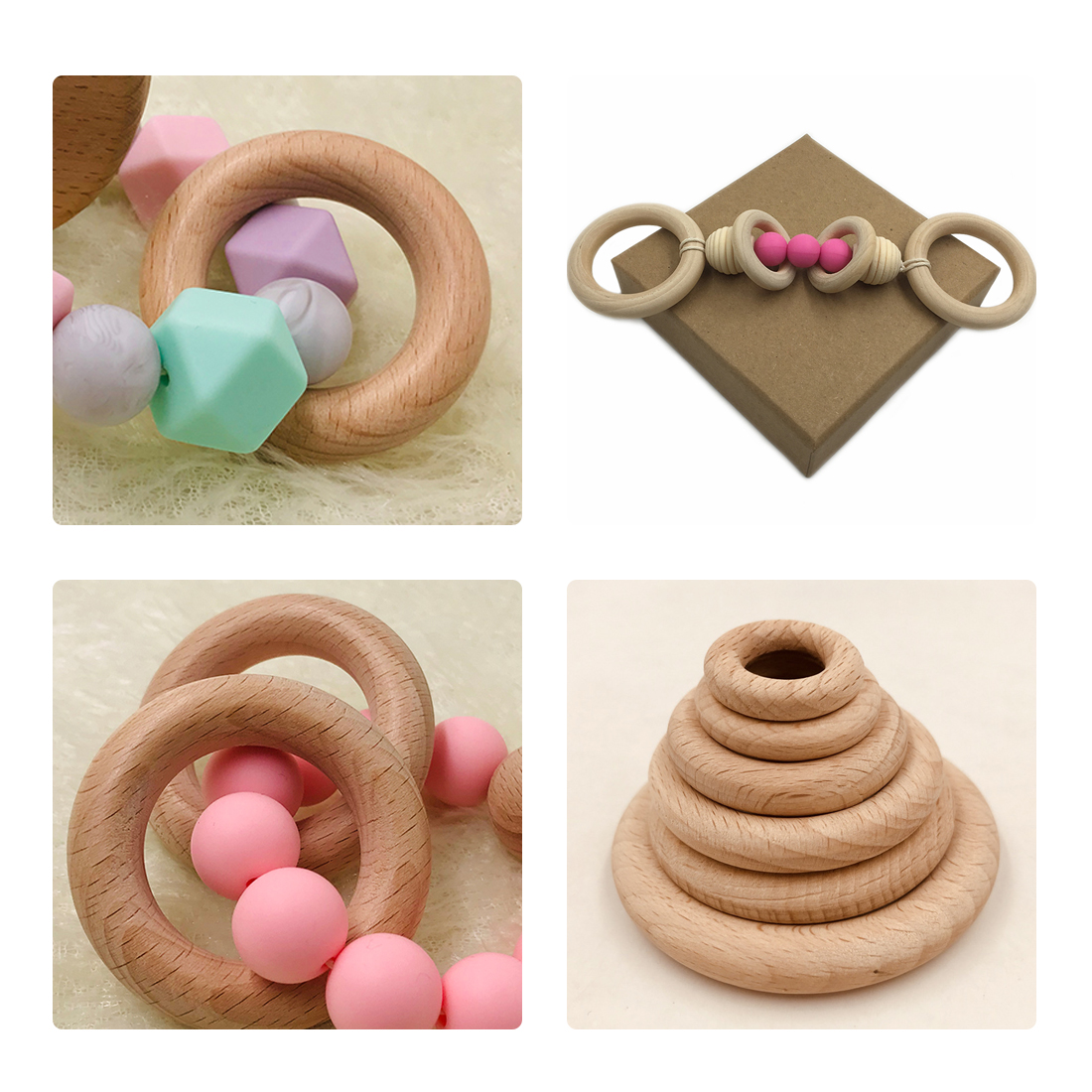 25mm-68mm Natural Wooden Baby Teething Rings Infant Teether Toy Necklace Bracelet For 3-12 Month Infants Tooth Care Products