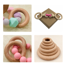 25mm-68mm Natural Wooden Baby Teething Rings Infant Teether Toy Necklace Bracele