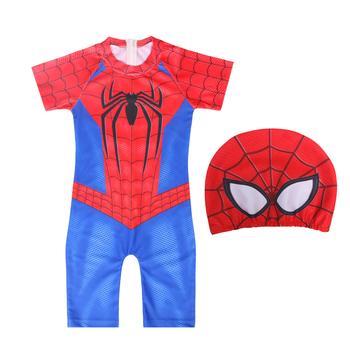 Superhero Prints Boy's Swimsuit Bright Color Baby Swimwear Kids Bathing Clothes One-piece Swimsuit Spiderman Swimwear With Cap bright baby blankies