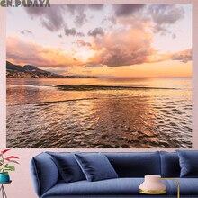 Beach at dusk sea tapestry Wall Hanging farmhouse decor sun oblen Scenic landscape tapestries boheme Polyester Yoga mat beach island beach scenic wall art decor tapestry