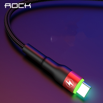 ROCK Type C 5A LED Light USB Type C Cable USBC Fast Charging QC 4.0 Charger Type-c Lighting Cable For Samsung S10 S9 Xiaomi 9 8