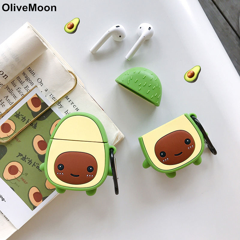 Fruit Avocado Earphone Case For Airpods 1 2 Case Silicone Soft Bluetooth Headphone Case Cover Airpods 1 2 Charging Box