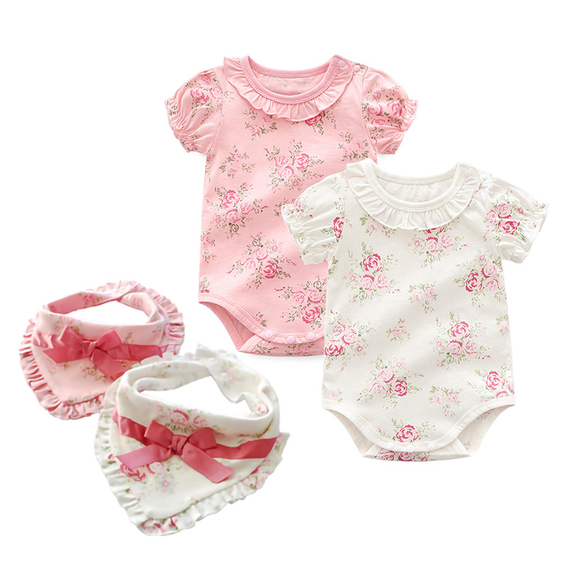 Cotton Floral Baby Bodysuits Summer Newborn Girls Twins Clothing Baby Climbing Suit Baby Jumpsuit Infant Baby Girl Clothes