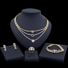 Yulaili Fashion African Dubai Gold Jewelry Sets Nigerian Tricolor Rhinestone Necklace Earrings Ring Wedding Bridal Jewellery