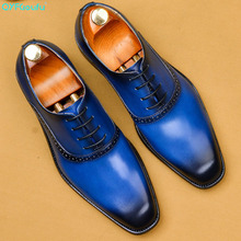 QYFCIOUFU 2019 Genuine Cow Leather Blue Brogue Business Wedding Shoes Men Casual Flats Shoes Vintage Handmade Oxford Formal Shoe