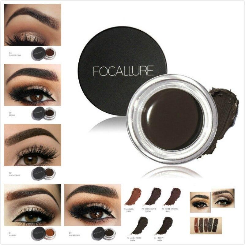 Tinta para sobrancelha 5 cores, maquiagem à prova d água pomada gel cosmético aprimorador maquiagem para os olhos creme para sobrancelha com pincel profissional