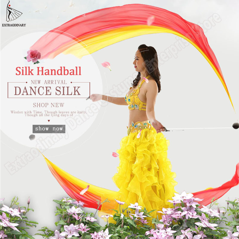 New Belly Dance Hand Props Poi Silk Veils Thrown Balls Stage Performance Hand Thrown Scarf Shawl Accessories Veils