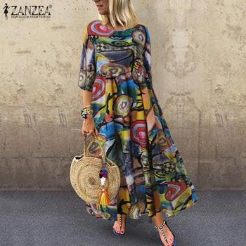 2019 Autumn Summer Long Maxi Dresses ZANZEA Dress Women Vintage Vestidos Robe Pleated Printed Plus Size Femme 3/4 Sleeve Tunic 7 1