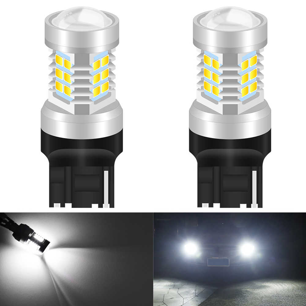 2 uds T20 7440 W21W 7441 7443 7444 W21/5 W bombillas LED para coche LADA Dimension luces lámparas Super brillante blanco ámbar DC12-24V