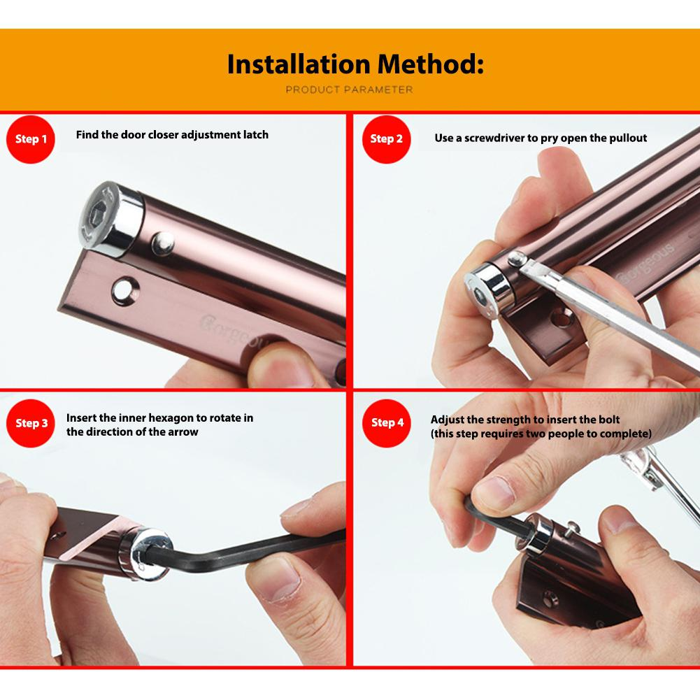 Adjustable Simple Spring Automatic Door Closer Stealth Home Hotel Use Hardware Tools