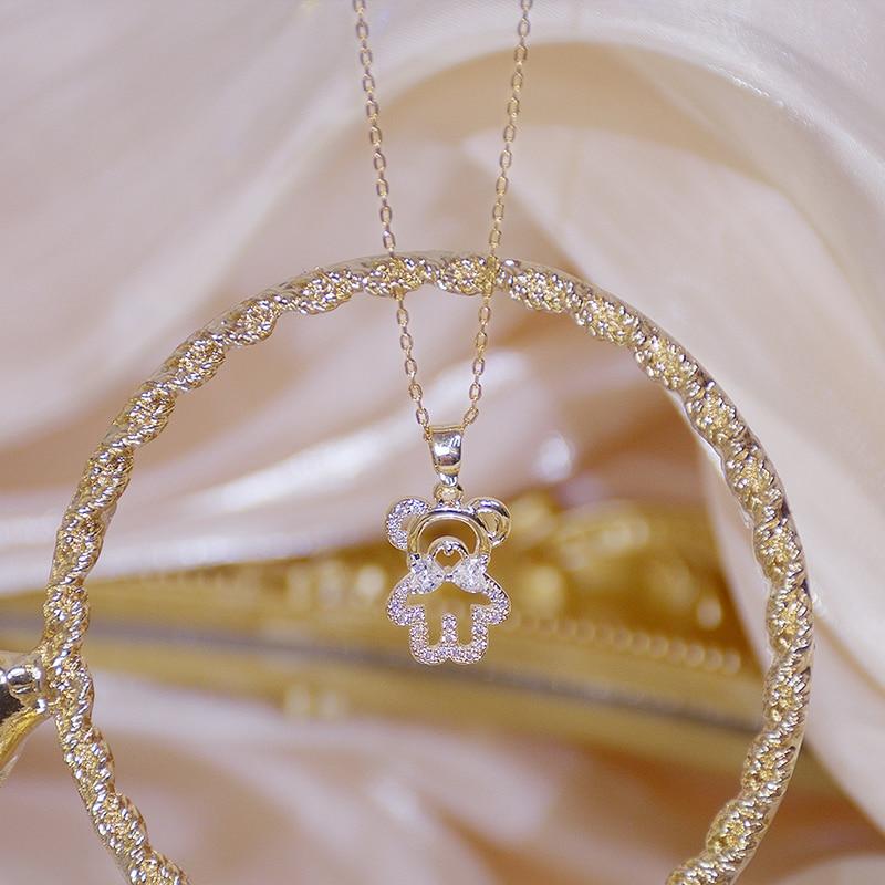 14k Real Gold Feminia Cute Bear Short Necklace for Women Ins Hot Sale Shine Zircon Choker Birthday Gift Wedding Jewelry Pendant