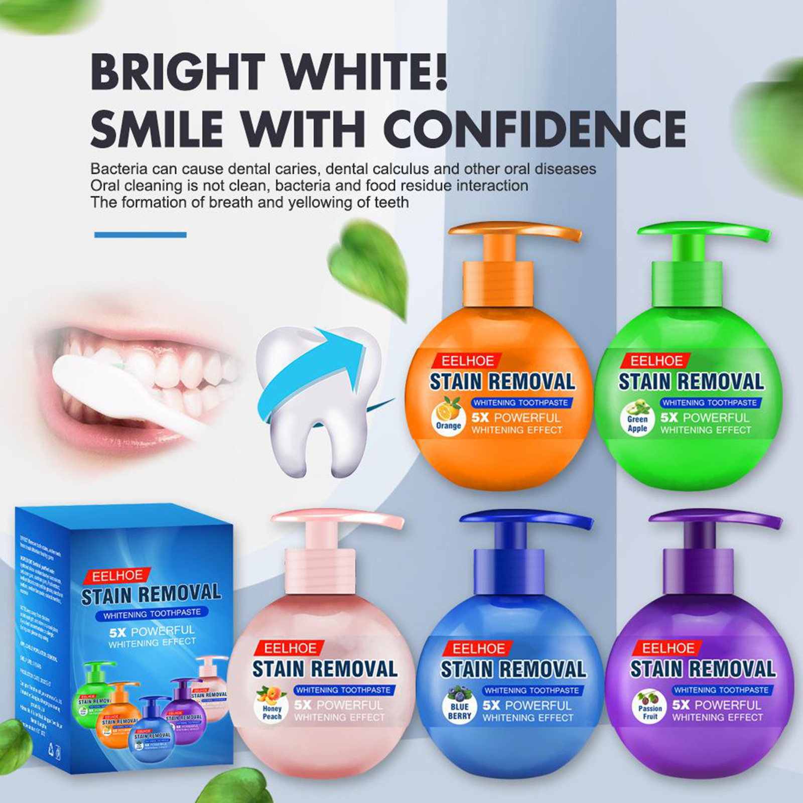 Baking Soda Toothpaste Power Natural Remover Pump Design Natural Ingredient Stain Removal Whitening Fruit Flavor Toothpaste