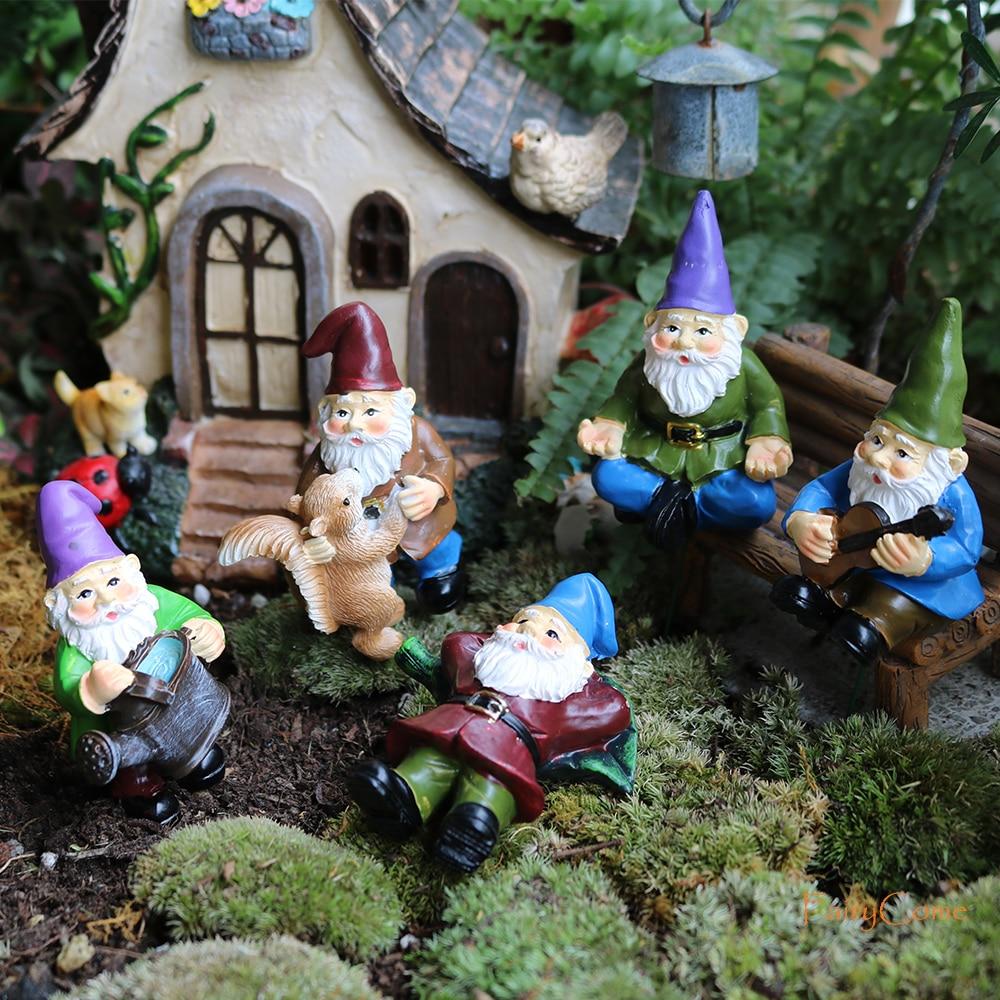Сказочные садовые миниатюрные гномы FairyCome, 5 шт., микро мини-фигурки гномов, садовые гномы и карлики, карлики из смолы для террариума