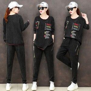 Image 4 - מקסימום לולו 2019 סתיו אופנה קוריאני גבירותיי חולצות ומכנסיים נשים פאנק שתי חתיכות סטי תלבושות מזדמנים רקמת בגדים בתוספת גודל