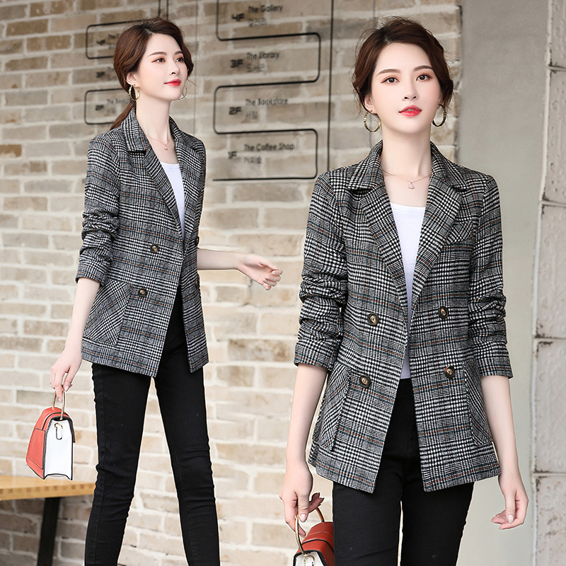 Autumn and winter new fashionable women's suits Temperament double-breasted plaid blazer High quality office suit overalls 2019