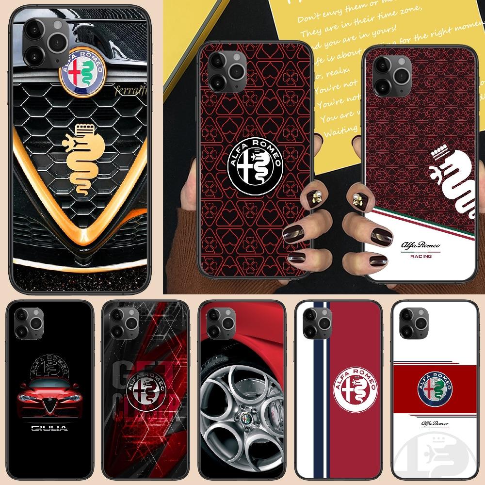 Cool Alfa Car Romeo Phone Case Cover Hull For Iphone 5 5S Se 2 6 6S 7 8 12 Mini Plus X XS XR 11 PRO MAX Black 3D Shell Fashion