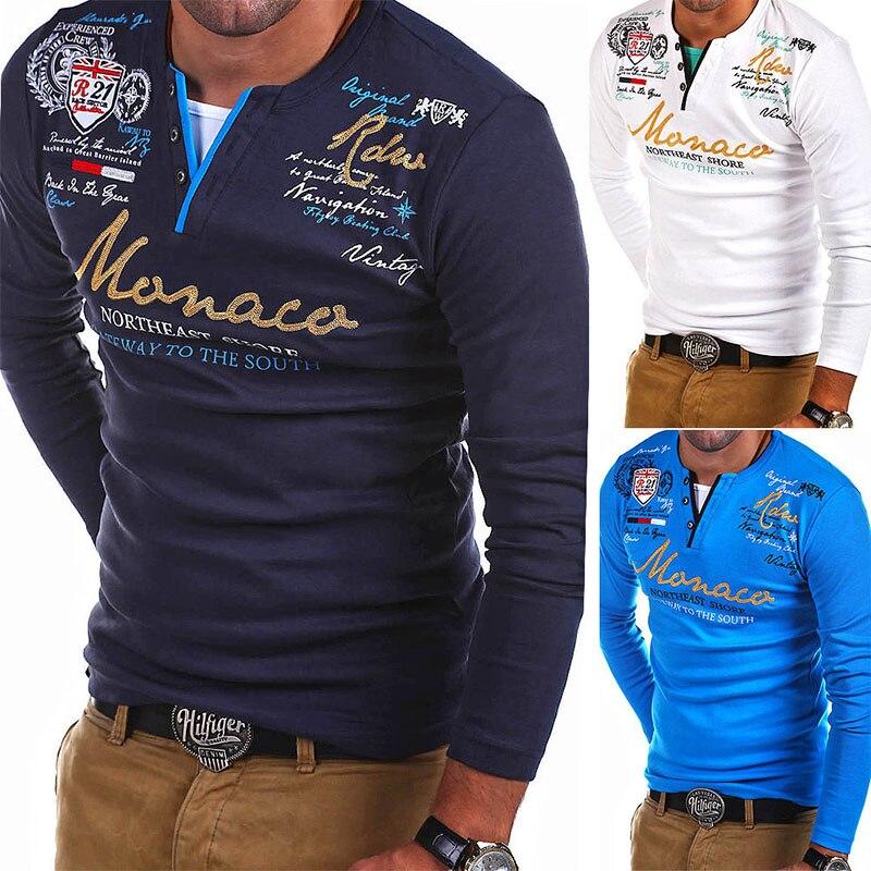 Zogaa 2019 Fashion Men's Long-sleeved POLO Shirt Striped Fold Raglan Sleeve Style Shirt Tops Men's Round Neck Slim Solid