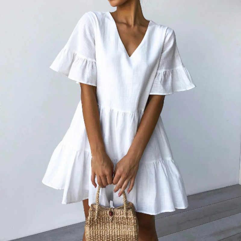 2019 été vêtements de plage profond V Necek à manches courtes blanc à volants a-ligne Mini robe femmes robe Sexy robe