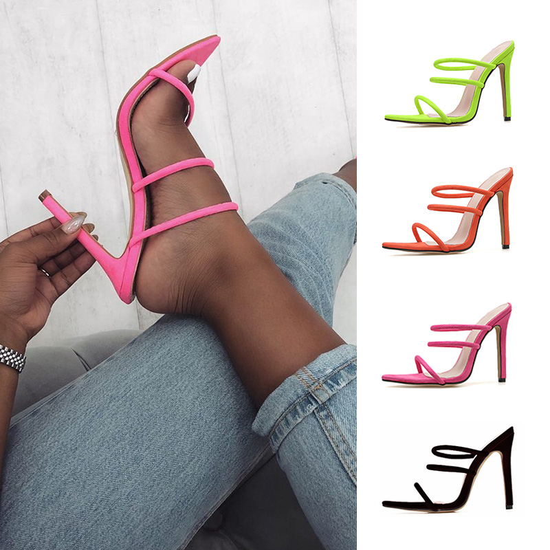 Dilys Shoes Thin Heel Candy Bright Color Hollow Roman High Heels Big Size Women's Shoes35- 43 Cross-border Supply Sandals
