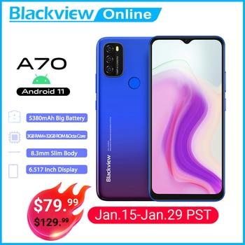 Перейти на Алиэкспресс и купить Blackview A70 Android 11 смартфон 5380 мАч большая Батарея Octa Core, 3 Гб оперативной памяти, Оперативная память + 32 ГБ Встроенная память 6,517 дюймов Дисплей 13MP...