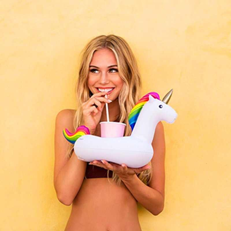 Mini Inflatable ถ้วยผู้ถือเครื่องดื่มยูนิคอร์นผู้ถือสระว่ายน้ำลอยสระว่ายน้ำของเล่นตกแต่ง Coasters บาร์แหวนว่ายน้ำ