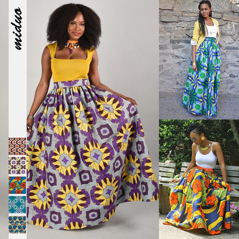 2020 Women African Dashiki Elastic Autumn Winter Summer Maxi Beach Skirt Floral Print High Waist Pleated Floor Length Long Skirt