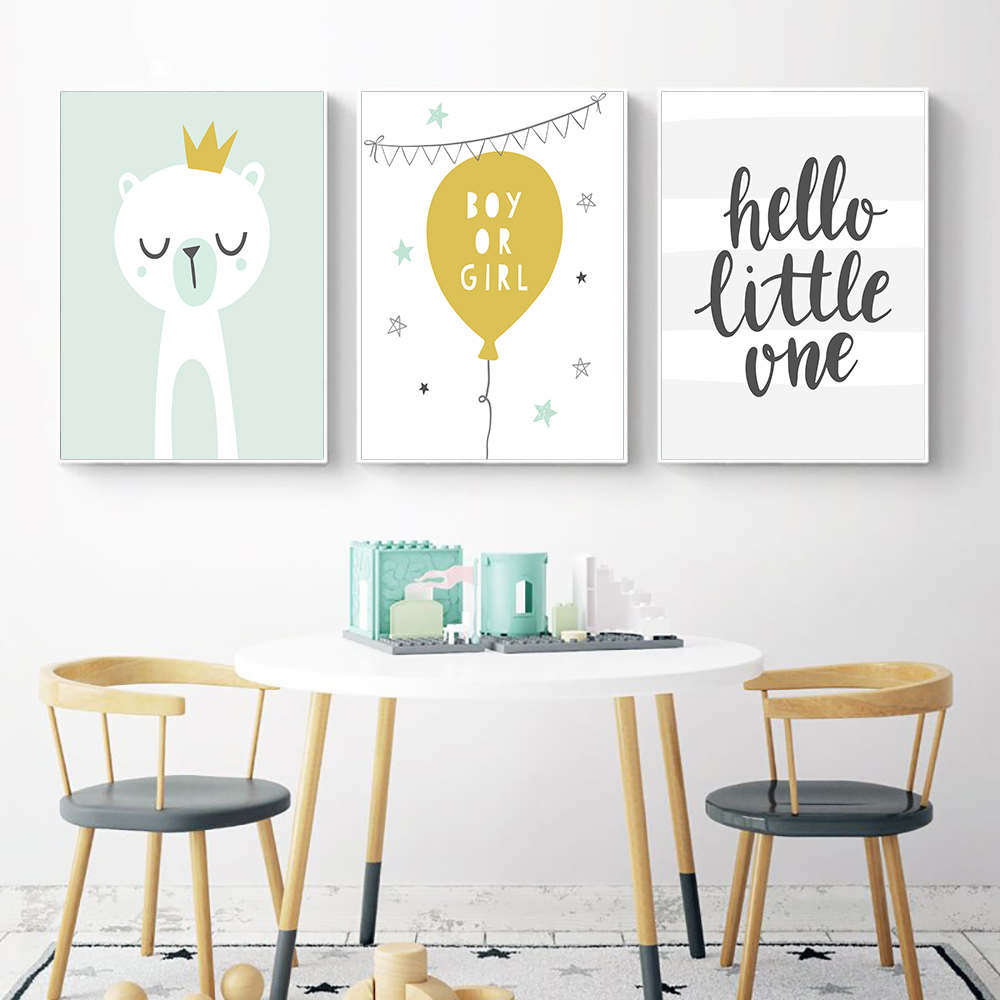Baby Nursery Wall Art Cute Star Balloon Bear Poster Print Canvas Painting Nordic Kids Decoration Picture Children Bedroom Decor
