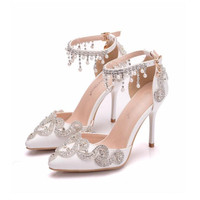 PCUAN sandals for women bride wedding shoes high heels for ladies party pointed rhinestone crystal shoes high heels