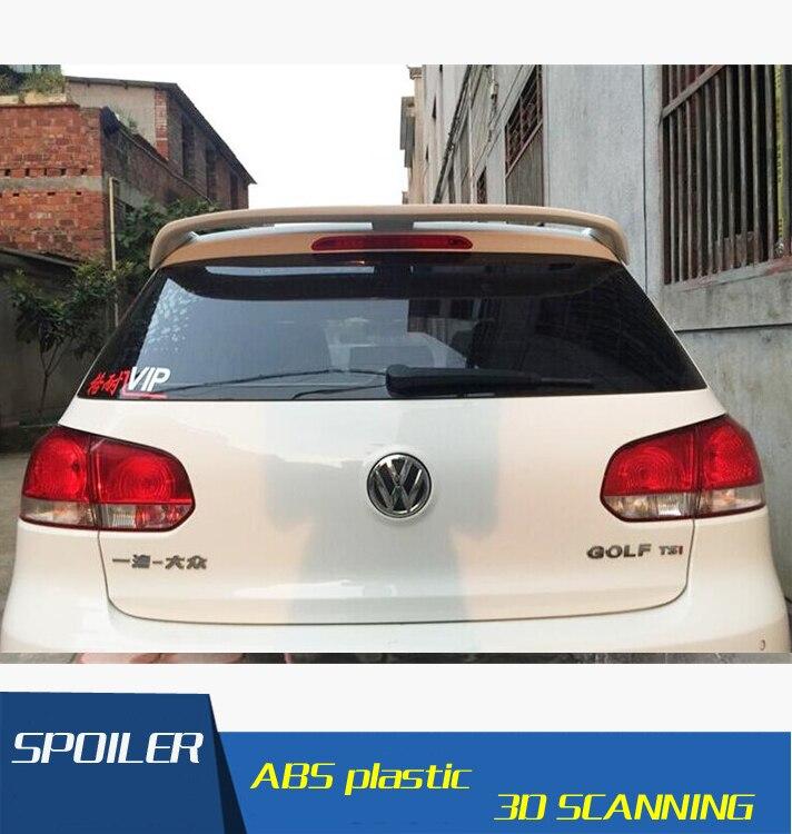 For VW Golf Spoiler ABS Material Car Rear Wing  Primer Color  Rear Spoiler For Volkswagen  Golf 6 Spoiler 2010-2013