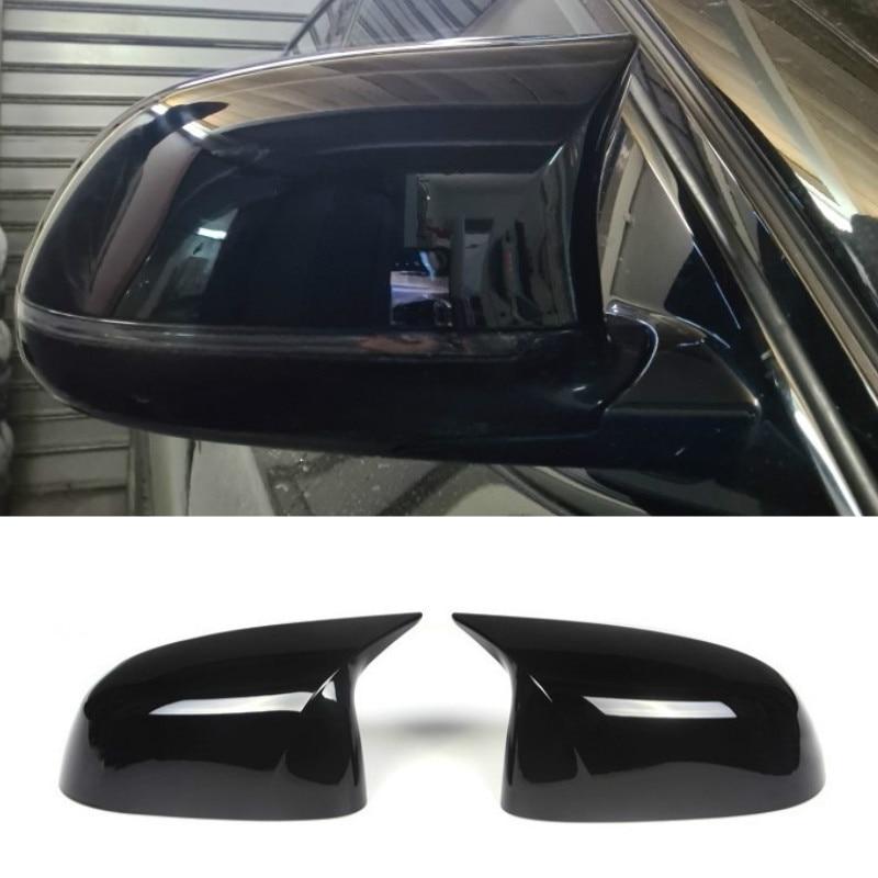 Глянцевая черная крышка для автомобильного зеркала заднего вида, 2 шт., крышки для зеркала слепых зон, подходит для BMW 2014-2018 F15 X5 & F16 X6 F26 X4 F25 X3