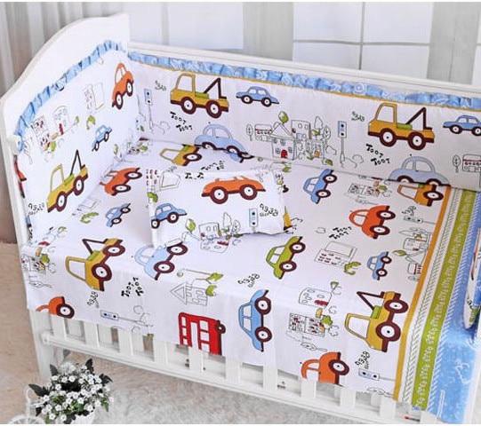 Car 6PCS Cot Baby bedding sets crib bumpers cot set protetor de berco cotton baby Safety Protection (4bumper+sheet+pillow cover)
