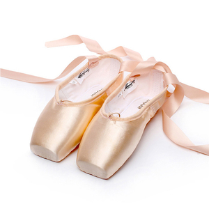SwanDancer Pointe Satin Upper With Ribbon Girls Women's Pink Professional Ballet Shoes Dancing Shoes With Toe Pads