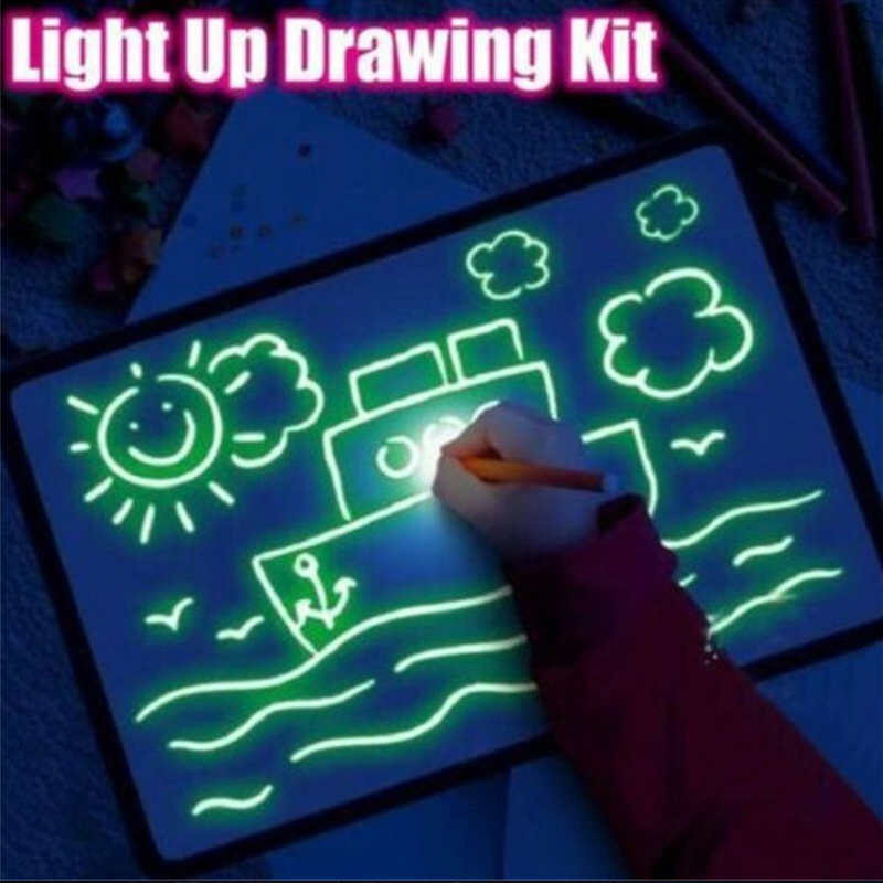 Draw With Light Fun Writing Pad Developing Educational Toy Drawing Painting Board For Kids X-Best