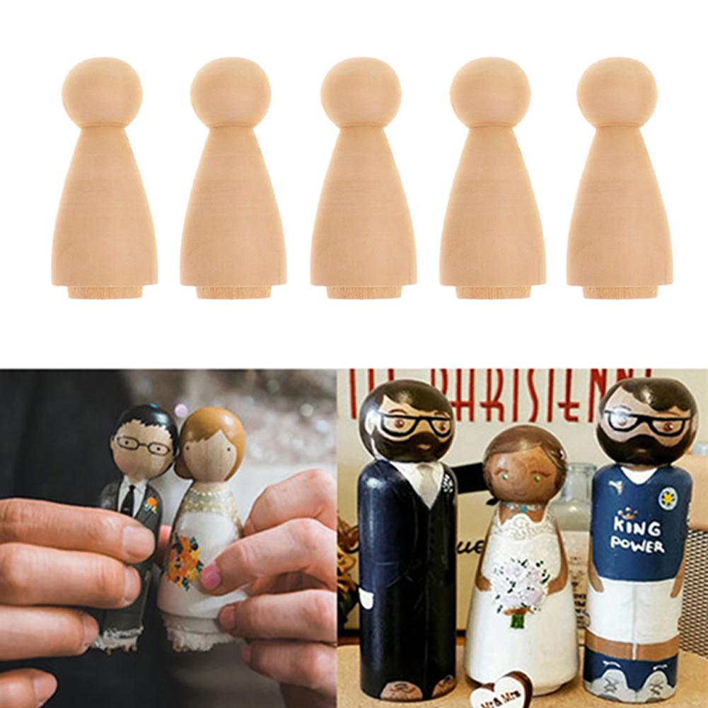 10Pcs Kids DIY Painting Model Blank Wooden Peg Doll Crafts DIY Hand Painting Graffiti Kids Toy Decor Educational Toy