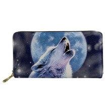 Women Wallets Purses Wolf Moon Money-Card-Holder Notecase Zipper Clutch Animal Female