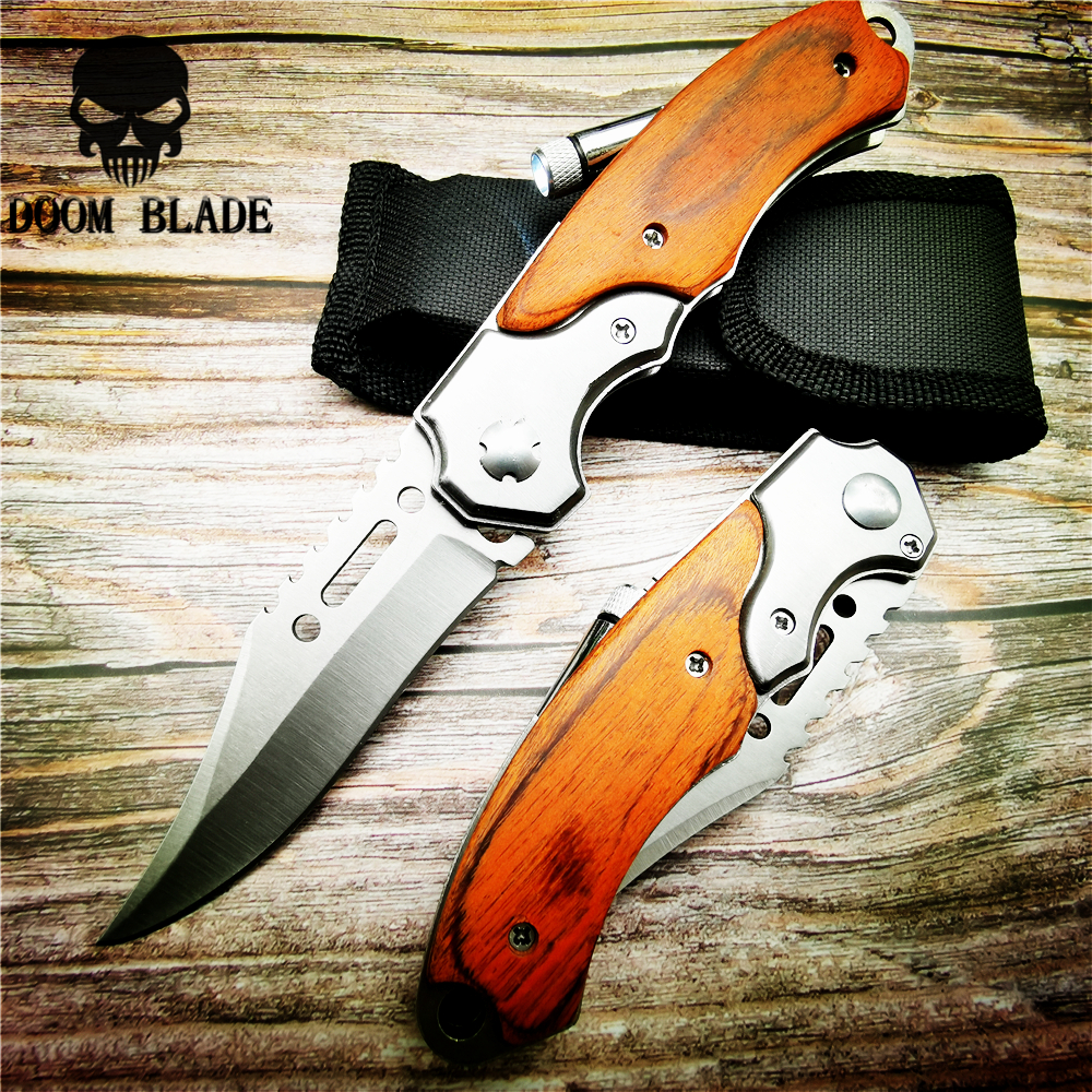 200mm 5CR15MOV Blade Quick Open Knives Pocket Tactical Folding Blade Knife Survival Hunting Camping Pocket Knife with LED New(China)