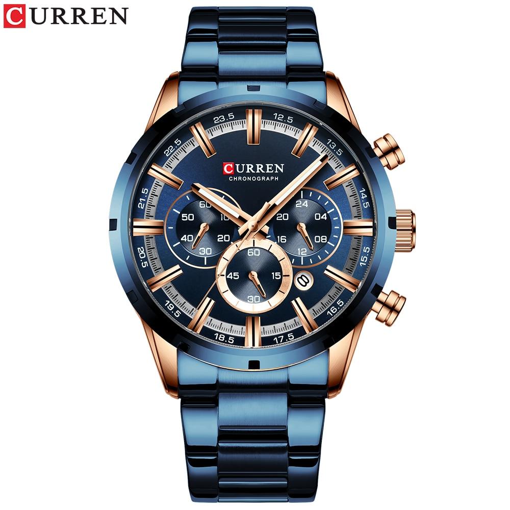 CURREN Luxury Fashion Men Watch Gifts With Stainless Steel Top Brand Luxury Sports Chronograph Quartz Watches Men часы мужские