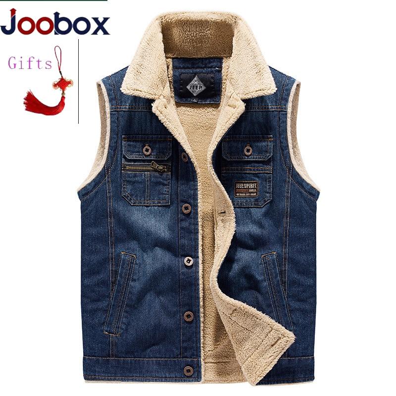 Thick Denim Vest Men Outwear Wool Liner Warm 2019 Winter  Men's Sleeveless Denim Jacket Multi-pockets Waistcoat Male Size M-4XL