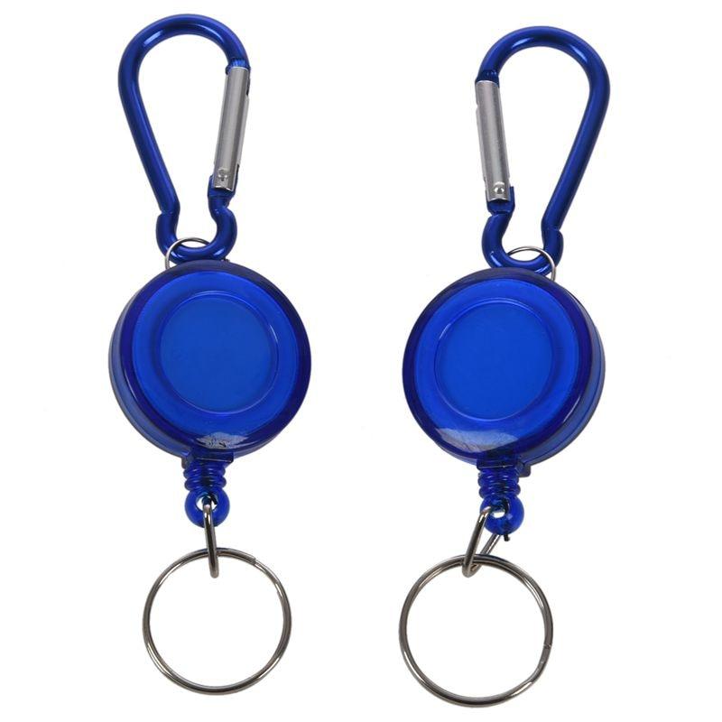 2 PCS BADGE REEL - RETRACTABLE RECOIL YOYO SKI PASS ID CARD HOLDER KEY CHAIN Color:Blue Amount:2Pcs