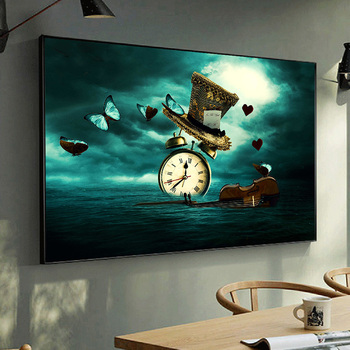 Clock Violin Butterfly Hat Surrealism Painting Printed on Canvas 1